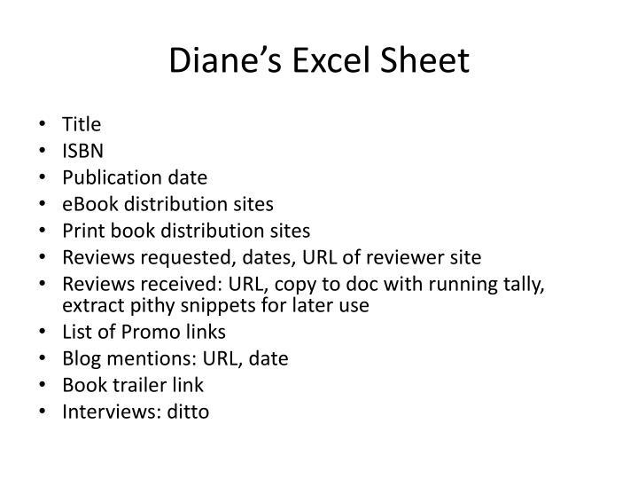 Diane's Excel Sheet