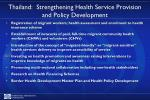 thailand strengthening health service provision and policy development