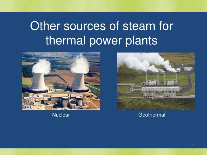Other sources of steam for thermal power plants