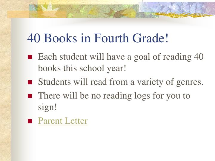 40 Books in Fourth Grade!