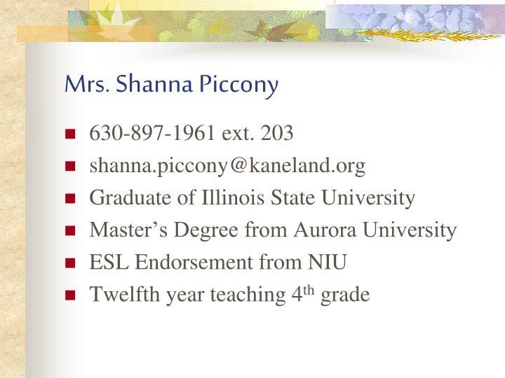 Mrs shanna piccony