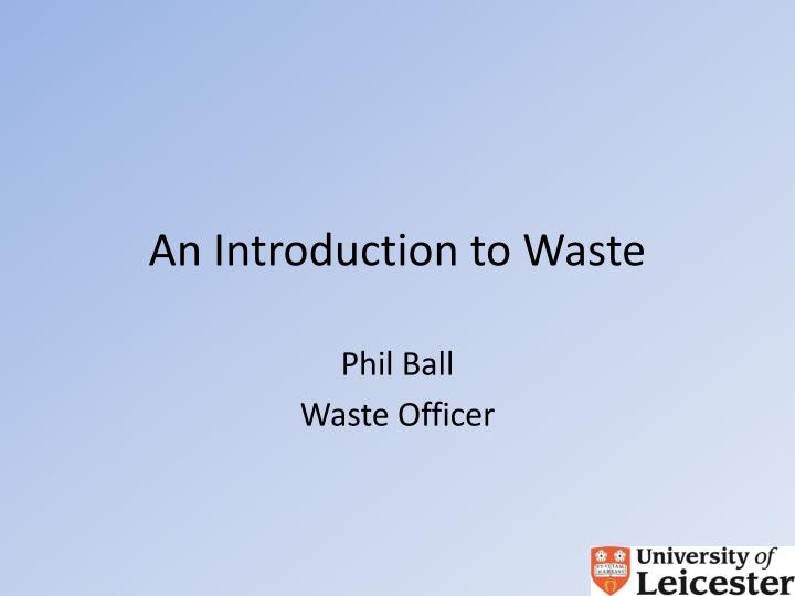 an introduction to waste n.