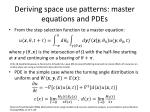 deriving space use patterns master equations and pdes1