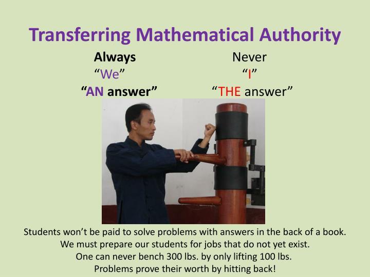 Transferring Mathematical Authority