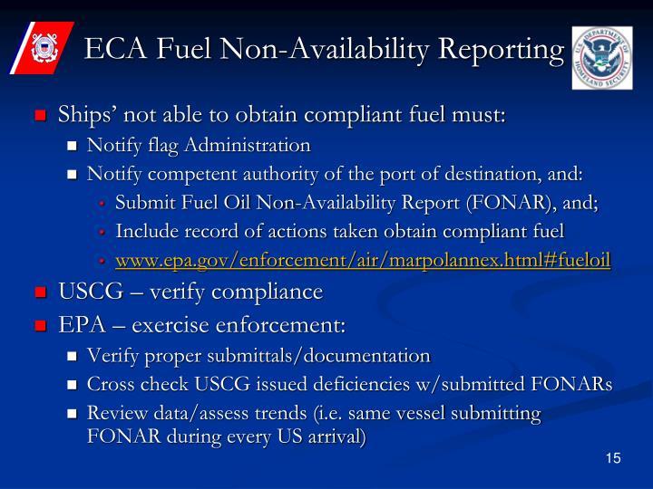ECA Fuel Non-Availability Reporting