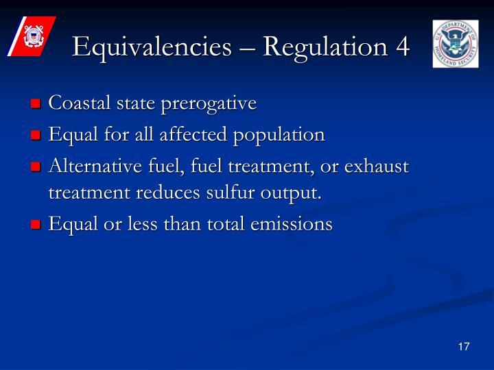 Equivalencies – Regulation 4