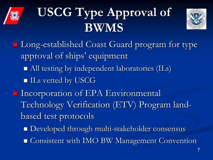 USCG Type Approval of BWMS
