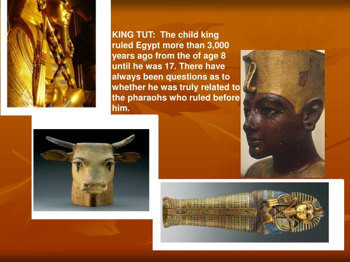 KING TUT:  The child king ruled Egypt more than 3,000 years ago from the of age 8 until he was 17. There have always been questions as to whether he was truly related to the pharaohs who ruled before him.