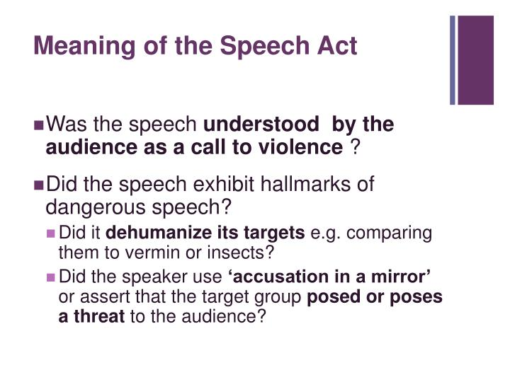 Meaning of the Speech Act