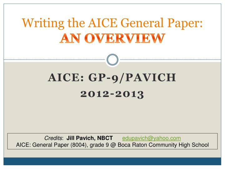 writing the aice general paper an overview n.