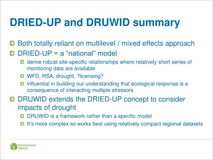 DRIED-UP and DRUWID summary