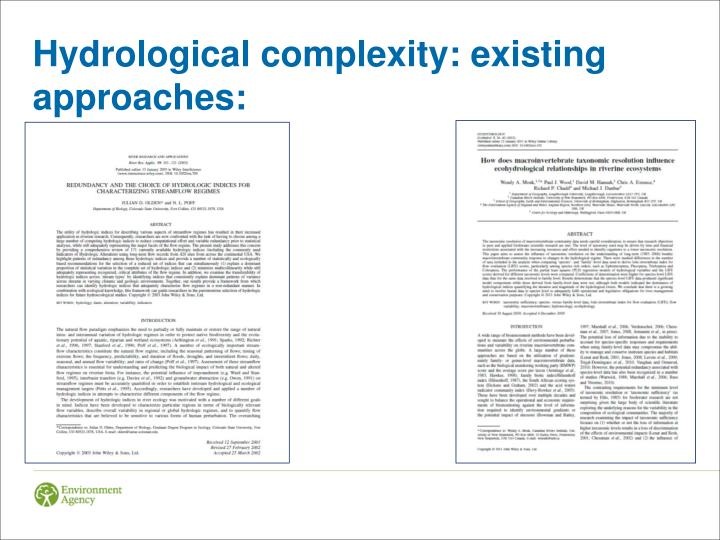 Hydrological complexity: existing approaches: