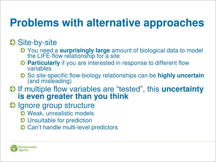 Problems with alternative approaches