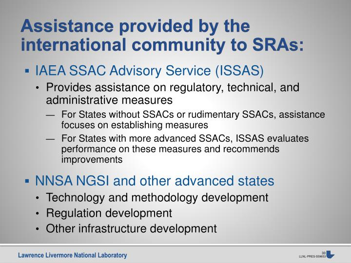 Assistance provided by the international community to SRAs: