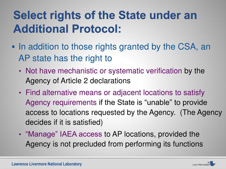 Select rights of the State under an Additional Protocol: