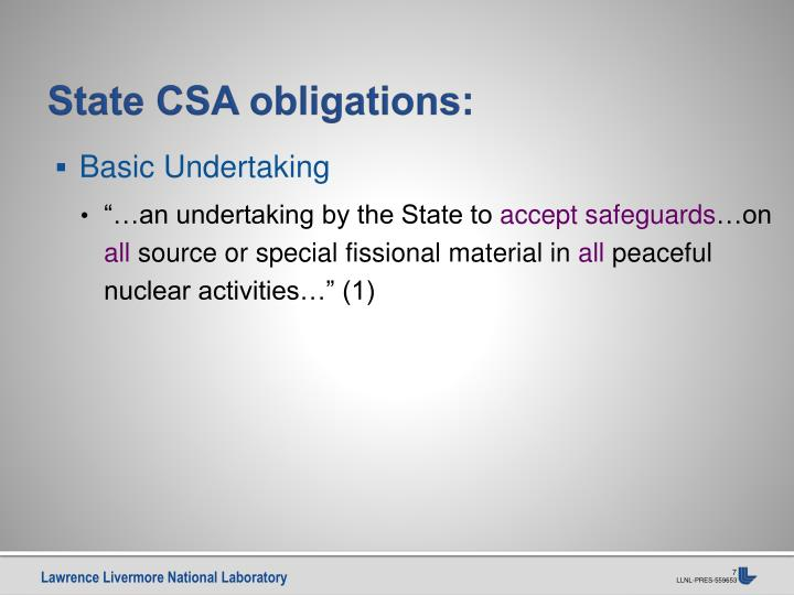 State CSA obligations:
