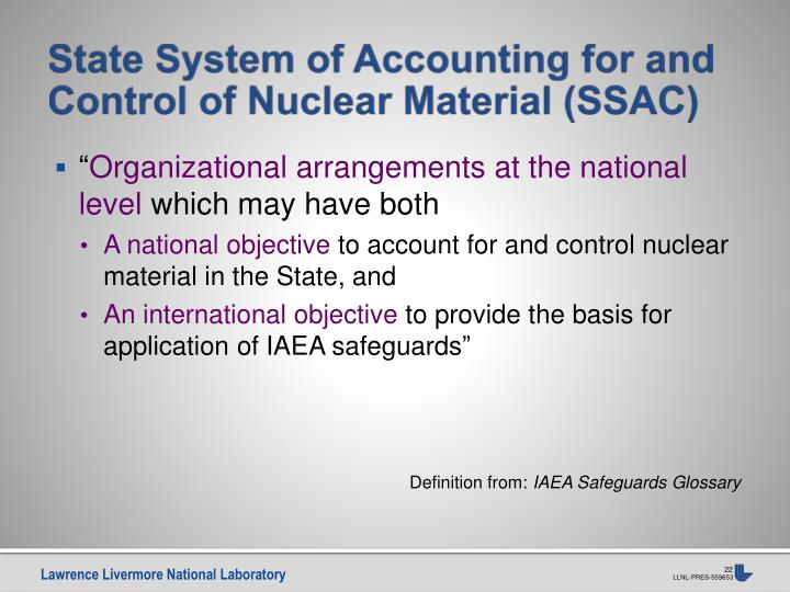 State System of Accounting for and Control of Nuclear Material (SSAC)