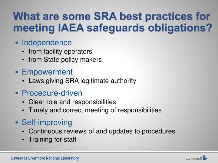 What are some SRA best practices for meeting IAEA safeguards obligations?