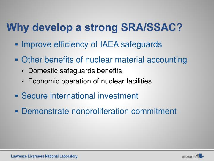 Why develop a strong SRA/SSAC?