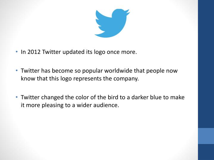 In 2012 Twitter updated its logo once more.