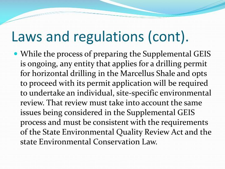 Laws and regulations (cont).