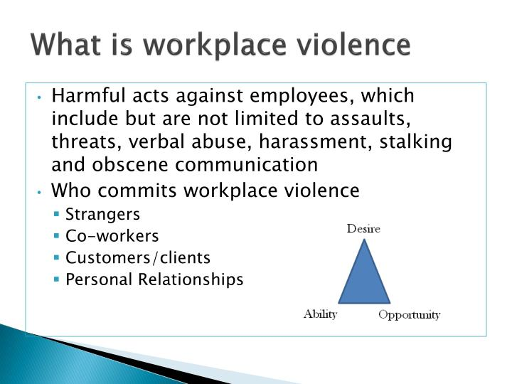 violence in the workplace essay Workplace violence essay examples 9 total results a study of workplace violence 640 words 1 page a look at the rising cases of workplace violence and how it's manifested 1,091 words 2 pages the factors causing workplace violence in the united states 1,490 words 3 pages exploring the issues of violence in the workplace.