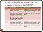 additional legislative amendment as required in terms of the mprda2