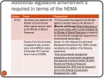 additional legislative amendment s required in terms of the nema3