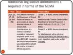 additional legislative amendment s required in terms of the nema5