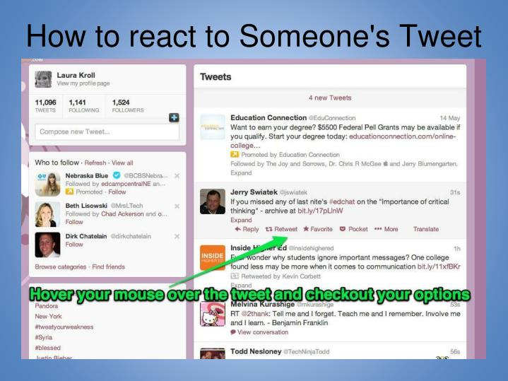 How to react to Someone's Tweet