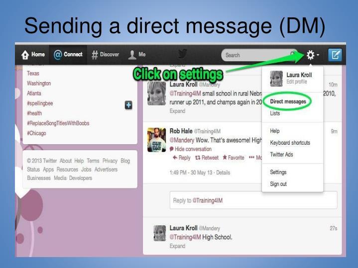 Sending a direct message (DM)