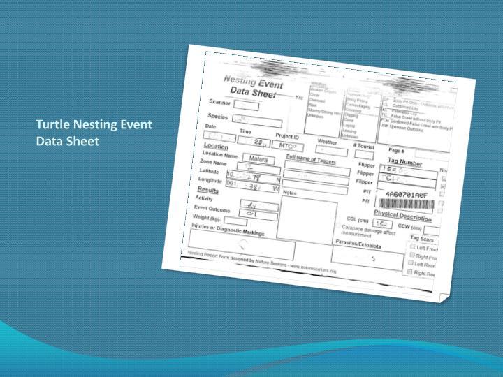 Turtle Nesting Event Data Sheet