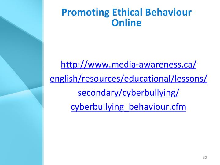Promoting Ethical Behaviour Online