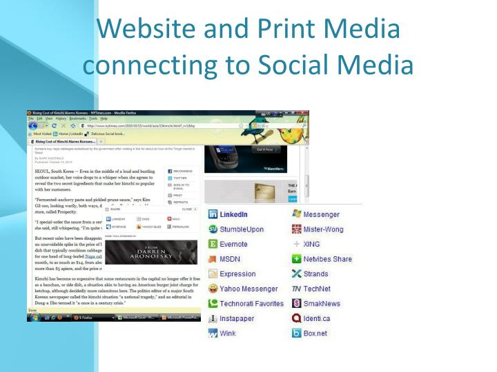 Website and Print Media connecting to Social Media