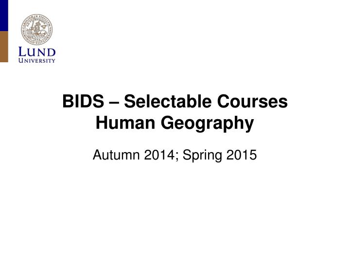 bids selectable courses human geography