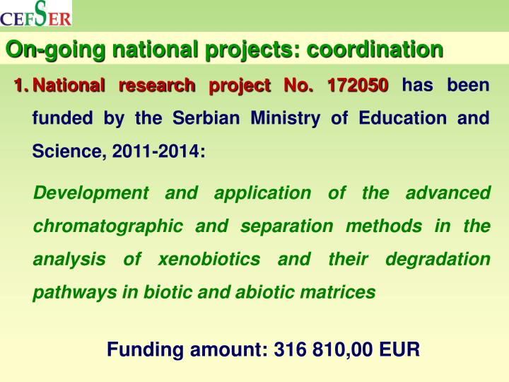 On-going national projects: coordination
