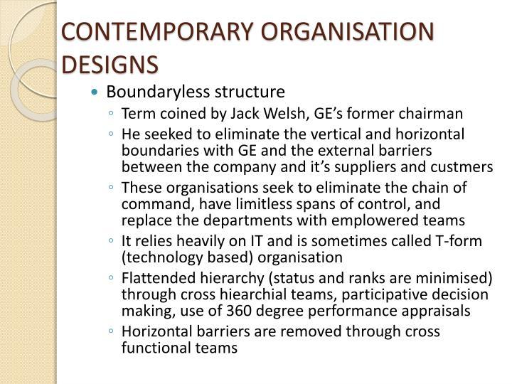 CONTEMPORARY ORGANISATION DESIGNS