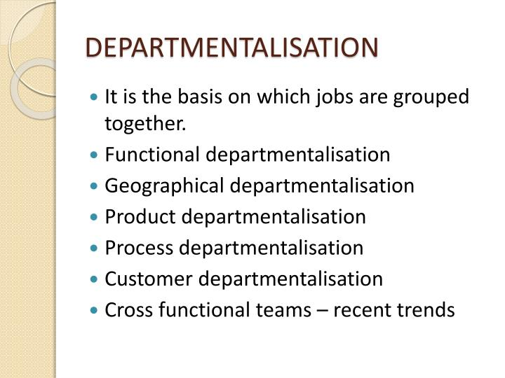 DEPARTMENTALISATION