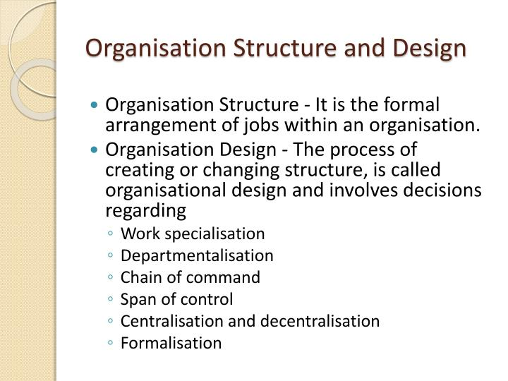 Organisation structure and design1