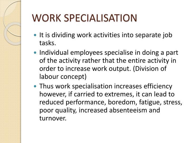 WORK SPECIALISATION