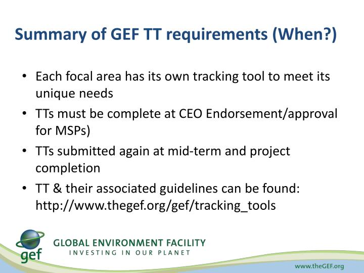 Summary of GEF TT requirements