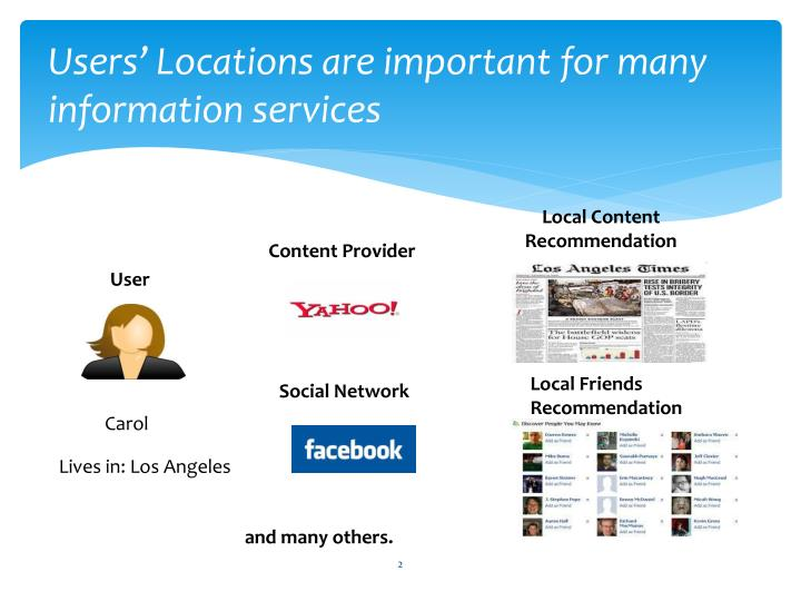 Users locations are important for many information services