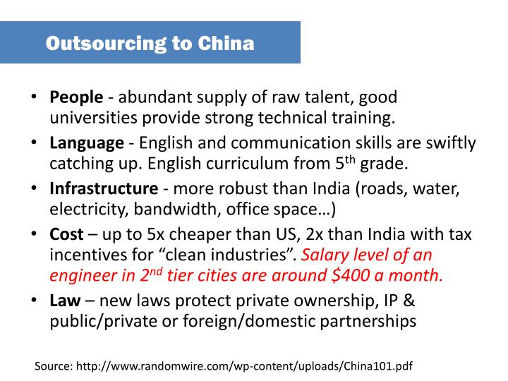 Outsourcing to China