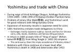 yoshimitsu and trade with china