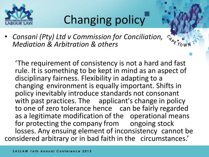 Changing policy