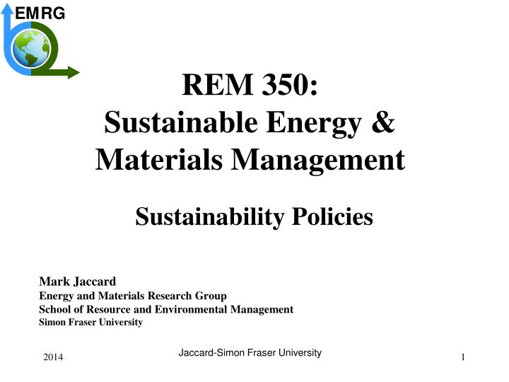 rem 350 sustainable energy materials management n.
