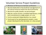 volunteer service project guidelines