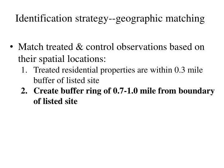 Identification strategy--geographic matching