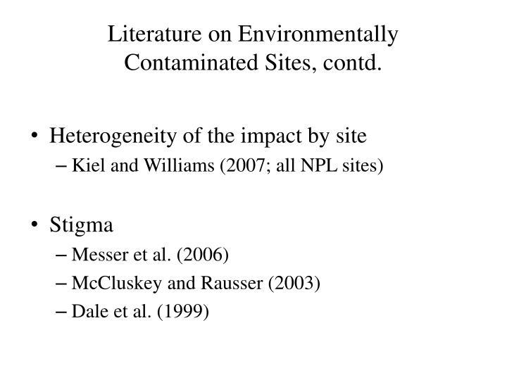 Literature on environmentally contaminated sites contd