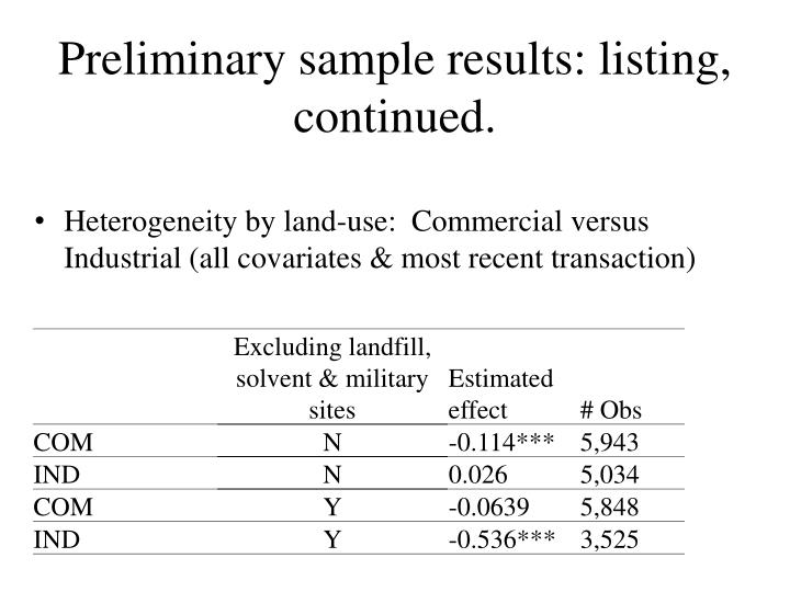 Preliminary sample results: listing, continued.